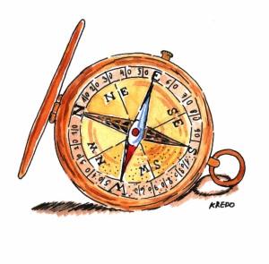 Kompass-Aquarellbild-Dodo Kresse